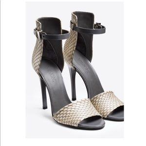 Giustina Ankle-Strap Sandal, Charcoal/White